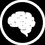 A white icon of a brain